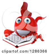 3d Red Fish Reading A Book