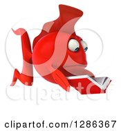 3d Engrossed Red Fish Facing Right And Reading A Book