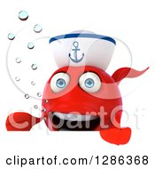 3d Red Sailor Fish Presenting Over A Sign