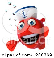 3d Red Sailor Fish Presenting Around A Sign
