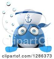 3d Blue Sailor Fish Smiling Over A Sign