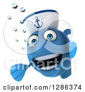 3d Blue Sailor Fish Smiling And Presenting Around A Sign