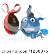 3d Blue Fish Holding A Chocolate Easter Egg 3