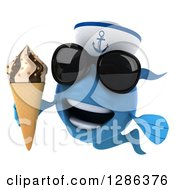 3d Blue Sailor Fish Wearing Sunglasses And Holding A Waffle Ice Cream Cone