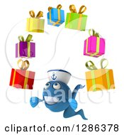 3d Blue Sailor Fish Facing Slightly Left And Juggling Gifts