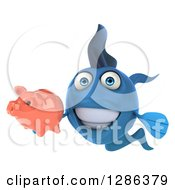 Clipart Of A 3d Blue Fish Smiling And Holding A Piggy Bank Royalty Free Illustration