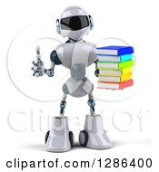 Clipart Of A 3d White And Blue Robot Holding A Thumb Up And Stack Of Books Royalty Free Illustration