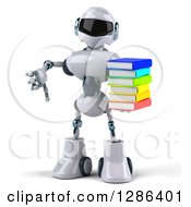 Clipart Of A 3d White And Blue Robot Holding A Thumb Down And Stack Of Books Royalty Free Illustration