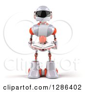 Clipart Of A 3d White And Orange Robot Reading A Book Royalty Free Illustration