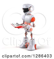 Clipart Of A 3d White And Orange Robot Facing Left And Reading A Book Royalty Free Illustration