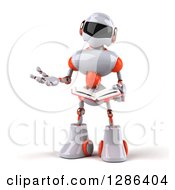 Clipart Of A 3d White And Orange Robot Gesturing With A Hand And Reading A Book Royalty Free Illustration
