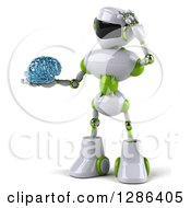 Clipart Of A 3d Thinking White And Green Robot Holding A Glass Brain Royalty Free Illustration by Julos