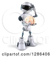 Clipart Of A 3d Thinking White And Blue Robot Holding A Brain Royalty Free Illustration