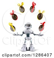 Clipart Of A 3d White And Blue Robot Juggling Chcoolate Easter Eggs Royalty Free Illustration