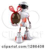 Clipart Of A 3d White And Orange Robot Holding A Chocolate Easter Egg Royalty Free Illustration