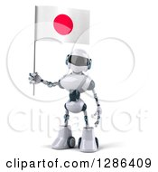 Clipart Of A 3d White And Blue Robot Holding A Japanese Flag Royalty Free Illustration