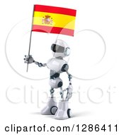 Clipart Of A 3d White And Blue Robot Facing Left And Holding A Spanish Flag Royalty Free Illustration