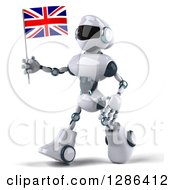 Clipart Of A 3d White And Blue Robot Walking To The Left And Holding A British Flag Royalty Free Illustration