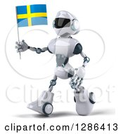 Clipart Of A 3d White And Blue Robot Walking To The Left And Holding A Sweden Flag Royalty Free Illustration