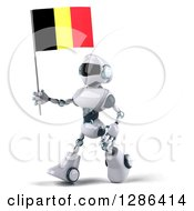 Clipart Of A 3d White And Blue Robot Walking To The Left And Holding A Belgian Flag Royalty Free Illustration