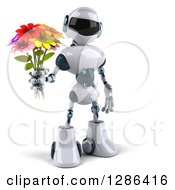 Clipart Of A 3d White And Blue Robot Holding A Bouquet Of Flowers Royalty Free Illustration