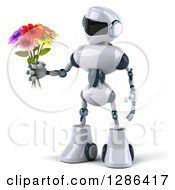 Clipart Of A 3d White And Blue Robot Holding A Bouquet Of Flowers To The Left Royalty Free Illustration