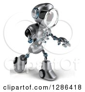 Clipart Of A 3d Silver Male Techno Robot Walking To The Right And Using A Magnifying Glass Royalty Free Illustration by Julos