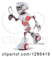 Clipart Of A 3d White And Red Robot Walking To The Left And Searching With A Magnifying Glass Royalty Free Illustration