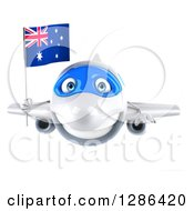 Clipart Of A 3d Happy White Airplane Flying With An Australian Flag Royalty Free Illustration