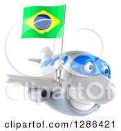 Clipart Of A 3d Happy White Airplane Flying To The Right With A Brazilian Flag Royalty Free Illustration