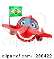 Clipart Of A 3d Happy Red Airplane Holding A Thumb Up And A Brazilian Flag Royalty Free Illustration