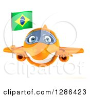 Clipart Of A 3d Happy Orange Airplane Holding A Brazilian Flag Royalty Free Illustration