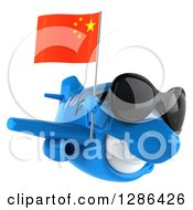 Clipart Of A 3d Blue Airplane Wearing Sunglasses And Flying To The Right With A Chinese Flag Royalty Free Illustration