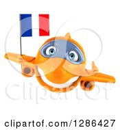 Clipart Of A 3d Happy Orange Airplane Holding A Thumb Up And A French Flag Royalty Free Illustration