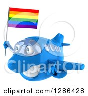 Clipart Of A 3d Happy Blue Airplane Flying To The Left With A LGBT Rainbow Flag Royalty Free Illustration