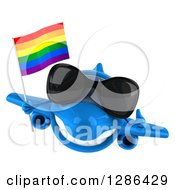 Clipart Of A 3d Happy Blue Airplane Wearing Sunglasses Holding A Thumb Up And Holding A LGBT Rainbow Flag Royalty Free Illustration