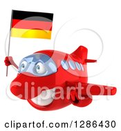 Clipart Of A 3d Happy Red Airplane Flying To The Left With A German Flag Royalty Free Illustration