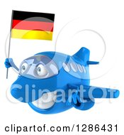 Clipart Of A 3d Happy Blue Airplane Flying To The Left With A German Flag Royalty Free Illustration