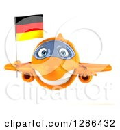 Clipart Of A 3d Happy Orange Airplane Flying With A German Flag Royalty Free Illustration