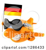 Clipart Of A 3d Happy Orange Airplane Wearing Sunglasses And Flying To The Left With A German Flag Royalty Free Illustration