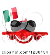 Clipart Of A 3d Red Airplane Wearing Sunglasses And Holding A Mexican Flag Royalty Free Illustration
