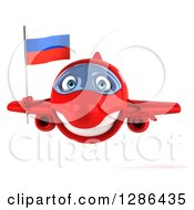 Clipart Of A 3d Happy Red Airplane Flying With A Russian Flag Royalty Free Illustration