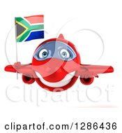 Clipart Of A 3d Red Airplane Flying With A South African Flag Royalty Free Illustration