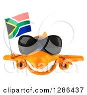 Clipart Of A 3d Orange Airplane Wearing Sunglasses And Flying With A South African Flag Royalty Free Illustration