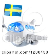 Clipart Of A 3d Happy White Airplane Flying To The Left With A Swedish Flag Royalty Free Illustration