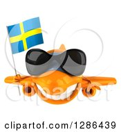 Clipart Of A 3d Happy Orange Airplane Wearing Sunglasses And Flying With A Swedish Flag Royalty Free Illustration