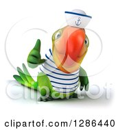 Clipart Of A 3d Green Parrot Sailor Giving A Thumb Up Royalty Free Illustration