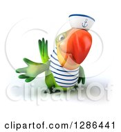 Clipart Of A 3d Green Parrot Sailor Presenting Royalty Free Illustration