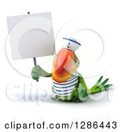 Clipart Of A 3d Green Parrot Sailor Holding Up A Blank Sign Royalty Free Illustration