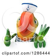 Clipart Of A 3d Green Parrot Sailor Holding A Thumb Up Over A Sign Royalty Free Illustration